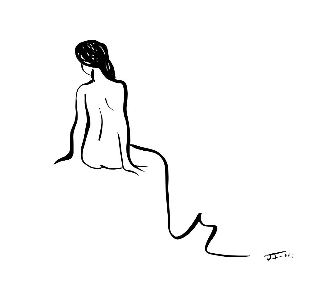 Chica de espaldas sentada