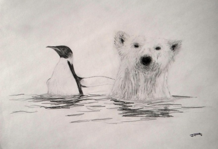 Un pingüino emperador con un oso polar