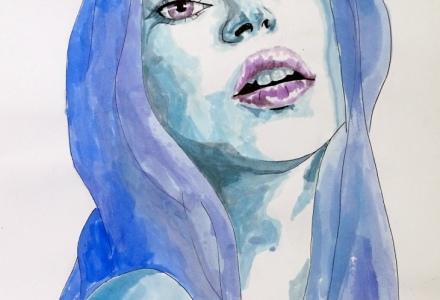 Segunda acuarela. La chica azul