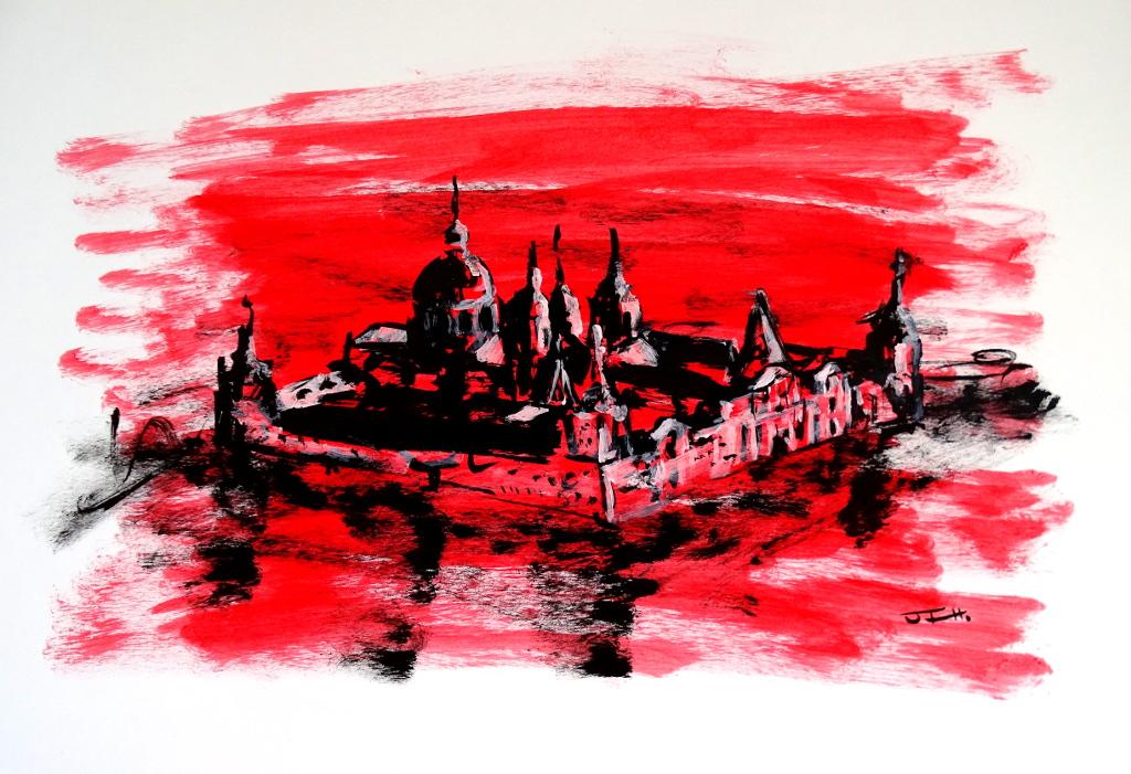 Monasterio desde el mirador, versión rojo