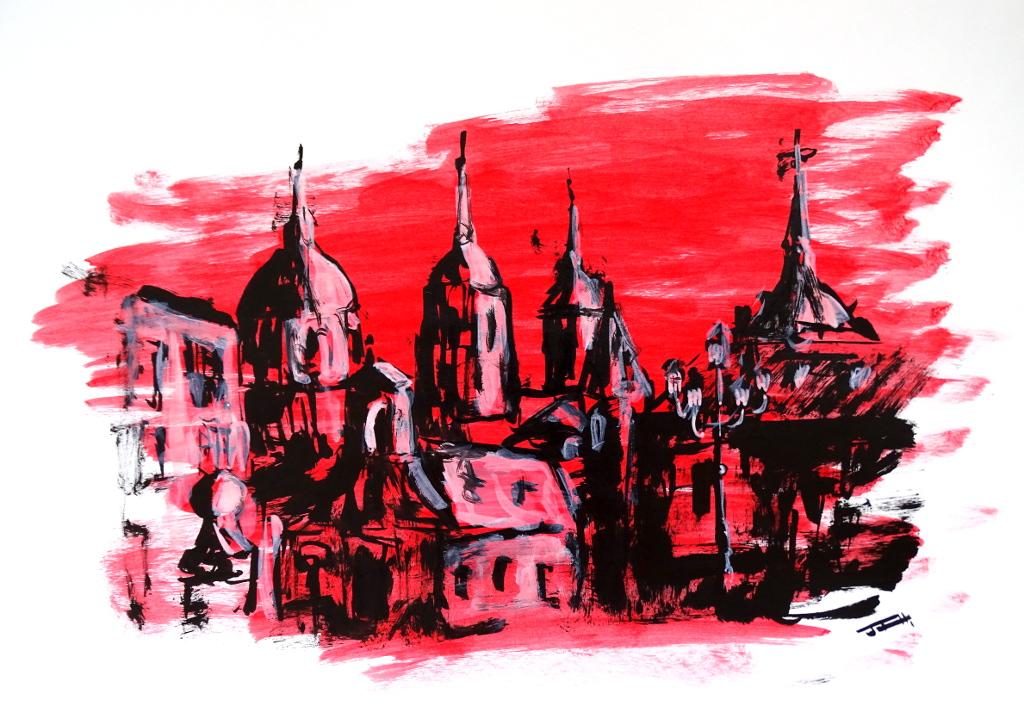 Plaza del ayuntamiento de San Lorenzo del Escorial, versión rojo